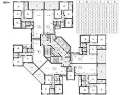 תוכנית קומות 3-21 - בניין צפוני