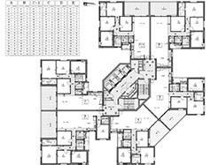 תוכנית קומות 3-20 - בניין דרומי