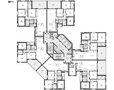 תוכנית קומה טיפוסית - בניין צפוני